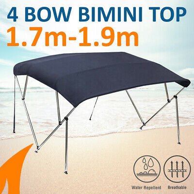 4 Bow 1.8-2.0m Blue Boat Bimini Top Canopy Cover w/ Rear Poles & Sock