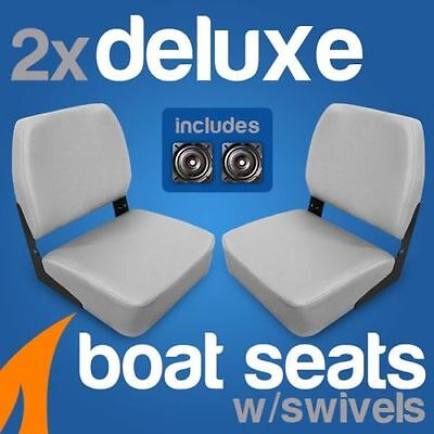 2 x Deluxe Grey Boat Folding Boat Seats w/ Swivels