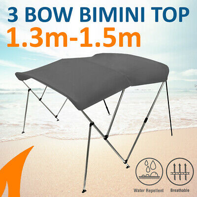 3 Bow 1.3m-1.5m Grey Boat Bimini Top Canopy Cover w/ Rear Poles & Sock