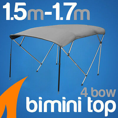4 Bow 1.5-1.7m Grey Boat Bimini Top Canopy Cover w/ Rear Poles & Sock