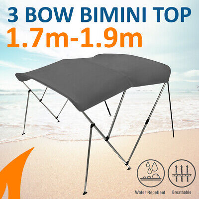 3 Bow 1.8m-2.0m Grey Boat Bimini Top Canopy Cover w/ Rear Poles & Sock