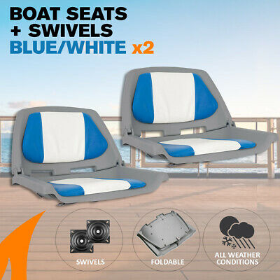 2 x Blue/White Boat Traveller Folding Boat Seats w/ Swivels