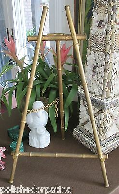 HOLLYWOOD REGENCY ENORMOUS GILT TOLE SPAIN FLORENTINE FAUX BAMBOO EASEL