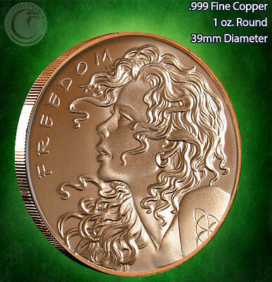 """""""Double Freedom Girl"""" Copper Round PROOF-LIKE 1 oz .999 Very Limited & Very Rare"""