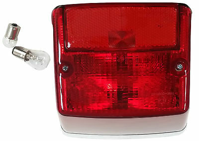 ukscooters VESPA COMPLETE REAR LIGHT UNIT PX LML CHROMED NEW WITH 2 X FREE BULBS