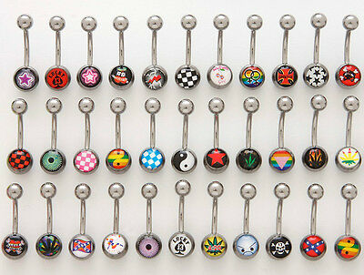B#65 - 15pcs Logo Belly Navel Rings 14g Wholesale Lot