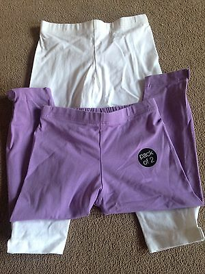 BNWT M&S Indigo Collection 2 Pack White Lilac Leggings 3-4 Years