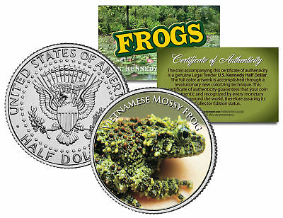 VIETNAMESE MOSSY FROG *Collectible Frogs* JFK Half Dollar US Colorized Coin COA