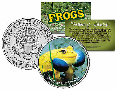 INDIAN BULLFROG * Collectible Frogs * JFK Kennedy Half Dollar US Colorized Coin