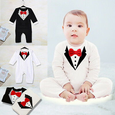 Cool Kids Baby Boys Outfits Romper Suit Bowknot Gentleman Overalls Clothes 0-36M