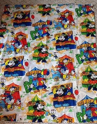 Vintage 1960s 1970s Mickey Mouse Curtains Pair Donald Duck Disney Balloons