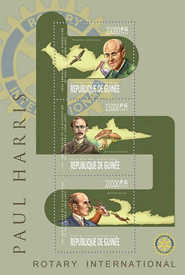 Guinea 2013 Rotary International Logo & Founder 3 Stamp Sheet 7B-2220
