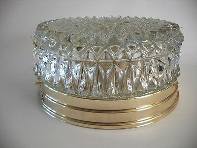 VINTAGE Bright Brass Plated Ceiling Light Fixture CLEAR Diamond Cut GLASS Shade