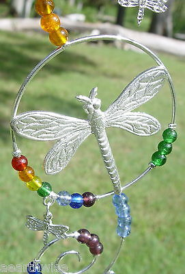 DRAGONFLY CHAKRA WIRE HANGING CRYSTAL Wicca Witch Pagan Goth SUNCATCHER