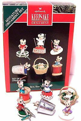 1992 HALLMARK Ornament NEW SEW SEW TINY QXM5794 MINI Mice Sewing Mint in Box