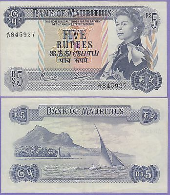 "Mauritius 5 Rupees Banknote 1967 Extra Fine Condition Cat#30-B-""Young Queen"""