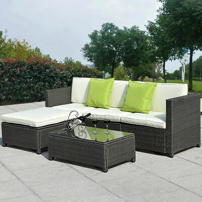 5PC Outdoor Patio Sofa Set Sectional Furniture PE Wicker Rattan Deck Couch Black
