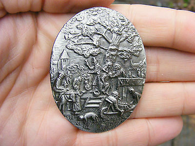 Vtg MEDICINE SHOW Belt Buckle ART Nouveau Peddler Village Silver Revival RARE NM