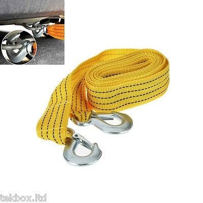 3M Car Tow Rope Pull Towing Strap Hooks Heavy Duty 3 Tons Car Van Road Recovery