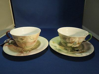 Vintage Set of 2 Limoges Tea Cups Saucers Hand Painted Pattern B95 50272 & 50269