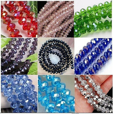 Hot Sale 4x6mm 98pcs Multicolor Wholesale Crystal Faceted Rondelle Loose Beads