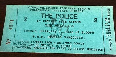 THE POLICE Unused Concert Ticket Feb 3 1980 Vancouver