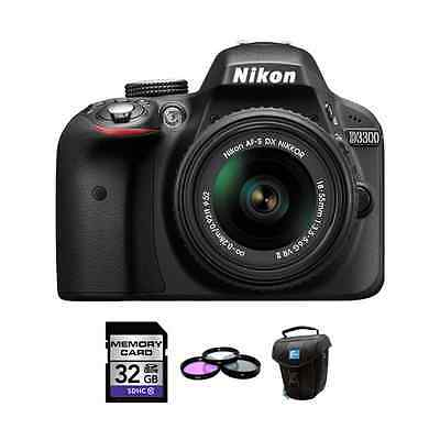 Nikon D3300 DSLR Camera - Black w/18-55mm Lens + 32GB, UV Filter Kit & Case