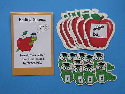 Teacher Made Literacy Center Educational Resource Learning Game Ending Sounds