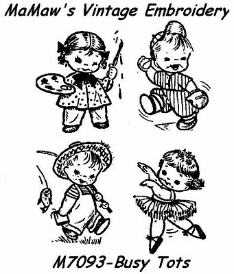M301 Busy Tots Tea Towel DOW Embroidery HOT IRON Transfer Child's Quilt pattern