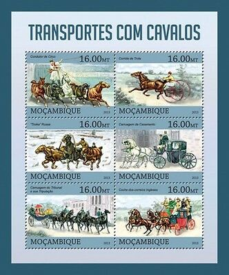 Mozambique - Horse Drawn Transport - 6 Stamp Sheet - 13A-1182