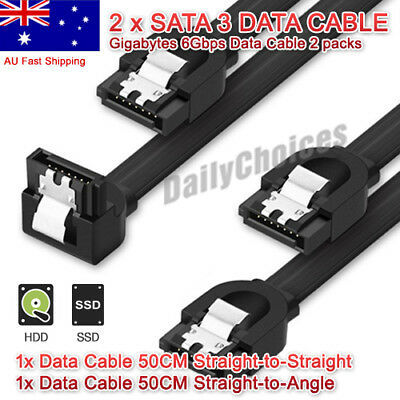 2x GIGABYTE SATA 3 III 3.0 Data Cable 6Gbps for HDD SSD with Angle and Lead Clip