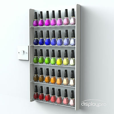 White Wall Mounted Acrylic Nail Polish Display Stand 5 Tier Retail 40-50 Bottles