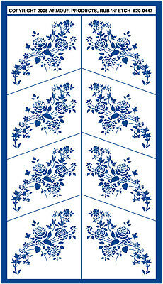 Armour Rub 'n' Etch Glass Etching Stencil  ~ Rose Florals