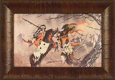 CONFLICT by Ray Whitson Native American Warriors Horses 11x15 FRAMED PRINT