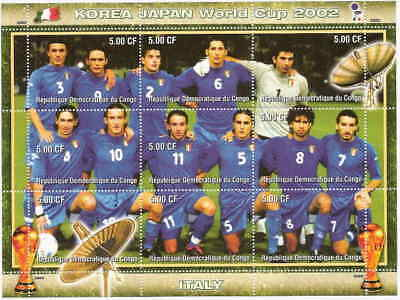 2002 Italy World Cup Football (Soccer) Team - 9 Stamp Sheet 3A-011