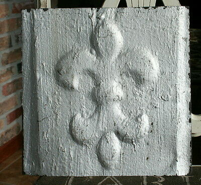 "12"" Antique Tin Ceiling Tile -- Rusty Silver Colored Paint - Fleur De Lis Design"