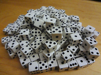 Lot of 100 White Small MINI 8mm 8 mm D6 Dice Square Gaming Casino Fast Ship D 6