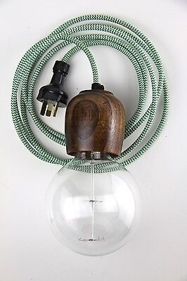 wooden light pendant 3 m cloth cord: hanging lamp fabric wire lampholder wood