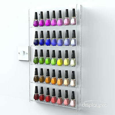 Wall Mounted Acrylic Nail Polish Display Stand Retail 5 Tier Holds 40-50 Bottles