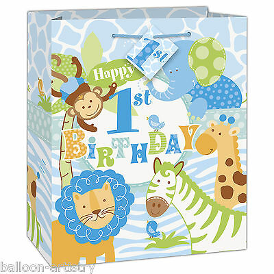 Wild Safari Blue Boy's 1st Birthday Party Medium Paper Loot Favour Gift Bag