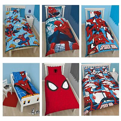 Marvel Spiderman Duvet Cover Sets Kids Boys Bedding  –  Junior, Single, Double