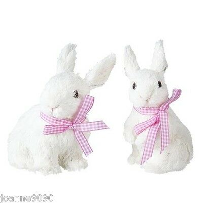 Gisela Graham Bristle Bunnies Gingham Bunny Rabbit Easter Decoration Ornament