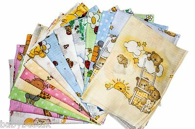 Printed 100% Cotton Muslin Squares Baby Bib Reusable Nappy Cloth 60x80 -Assorted
