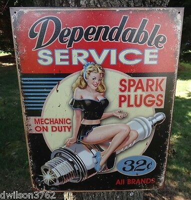 Vintage Auto Mechanic Parts Store Display Sign Pin Up Girl Garage Shop Picture