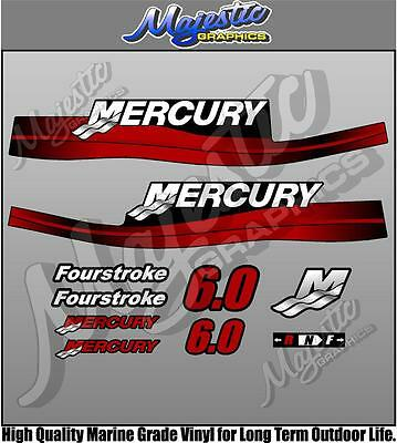 MERCURY 6 hp - FOURSTROKE - DECAL SET - OUTBOARD DECALS