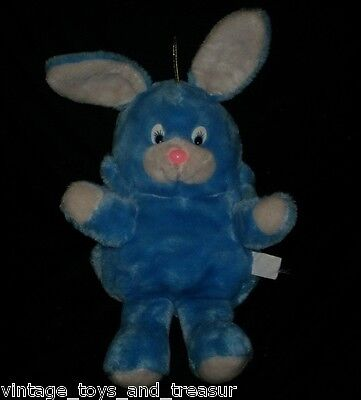 Vintage 1984 Art's Toy Blue Bunny Rabbit Stuffed Animal Plush Toy Folds Popple