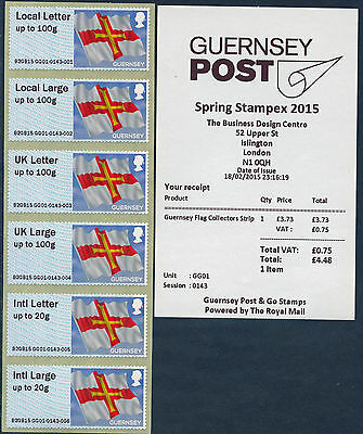 Spring Stampex 2015 Guernsey Flag No Ovpt Coll Strip/6 Fdi Gg01 Flags Post & Go