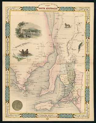 Part of South Australia. John Tallis antique map with goldfields c1853.