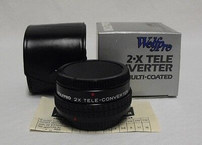 MIB Wolfpro Multi-Coated 2-X Tele-Converter Lens Adapter for Canon FD w/Case
