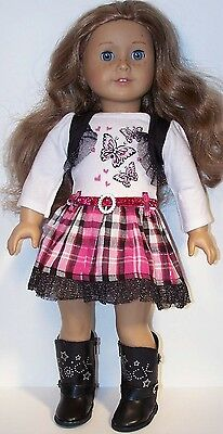 PINK BLACK Butterfly Plaid Dress Doll Clothes For American Girl DEBs